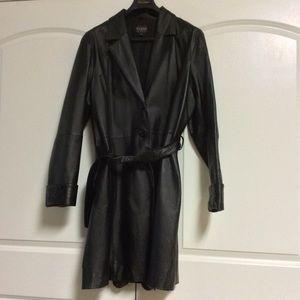 VTG Black Leather Single Breast Trench Coat 2XL